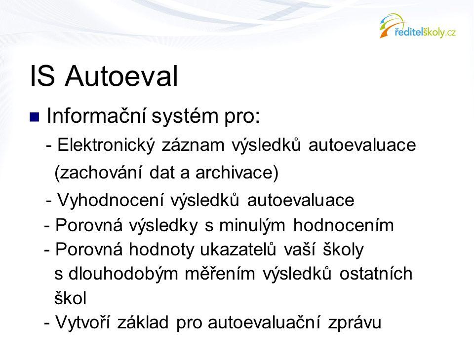 IS Autoeval  Informační systém pro: - Elektronický záznam výsledků autoevaluace (zachování dat a archivace) - Vyhodnocení výsledků autoevaluace - Por