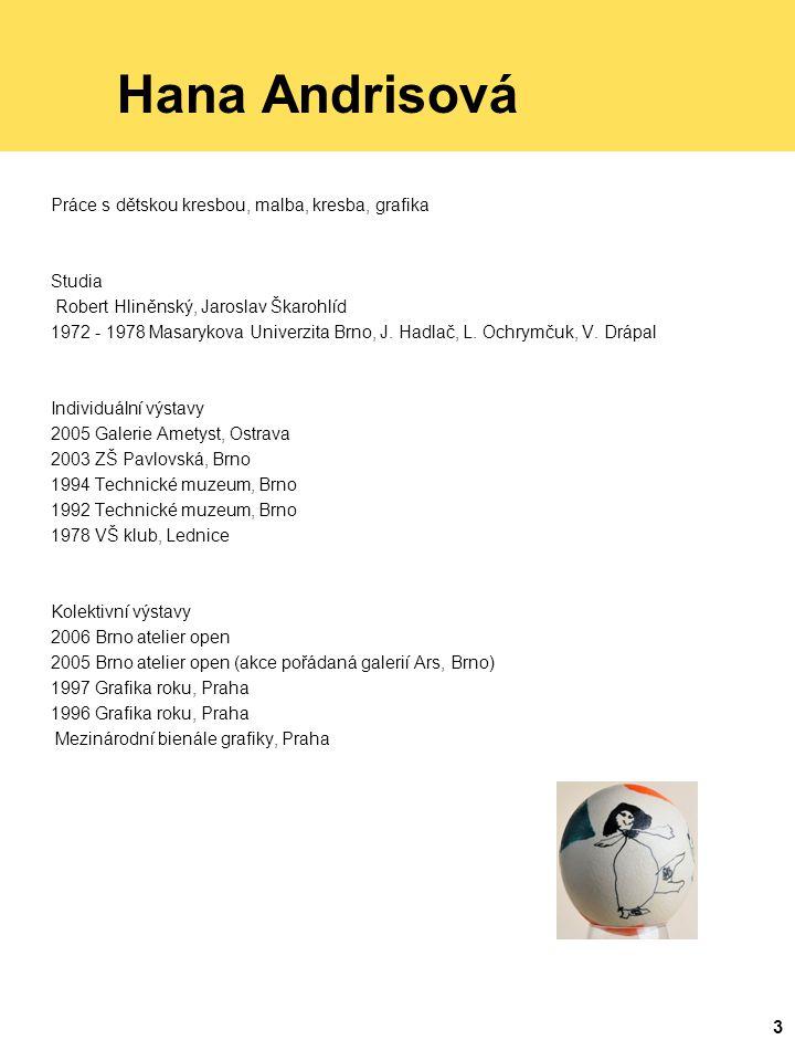 3 Hana Andrisová Práce s dětskou kresbou, malba, kresba, grafika Studia Robert Hliněnský, Jaroslav Škarohlíd 1972 - 1978 Masarykova Univerzita Brno, J.