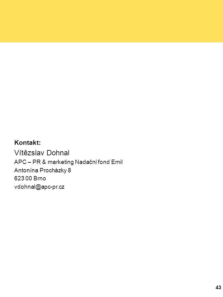 43 Kontakt: Vítězslav Dohnal APC – PR & marketing Nadační fond Emil Antonína Procházky 8 623 00 Brno vdohnal@apc-pr.cz