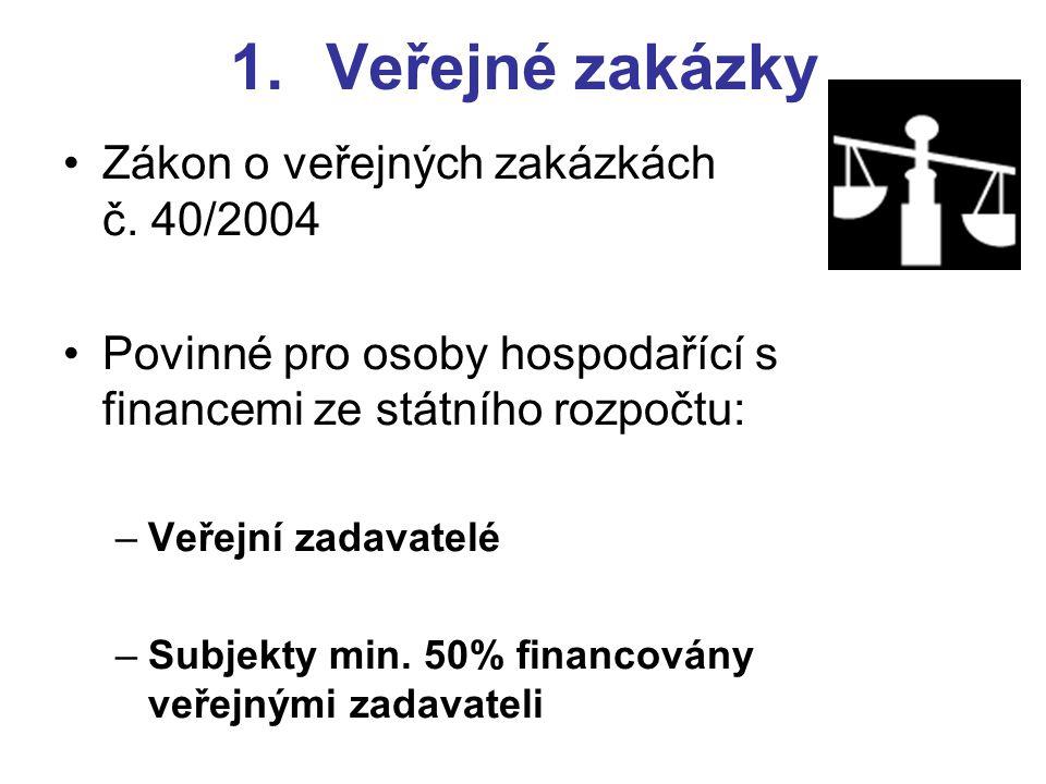 1.Veřejné zakázky •Zákon o veřejných zakázkách č.