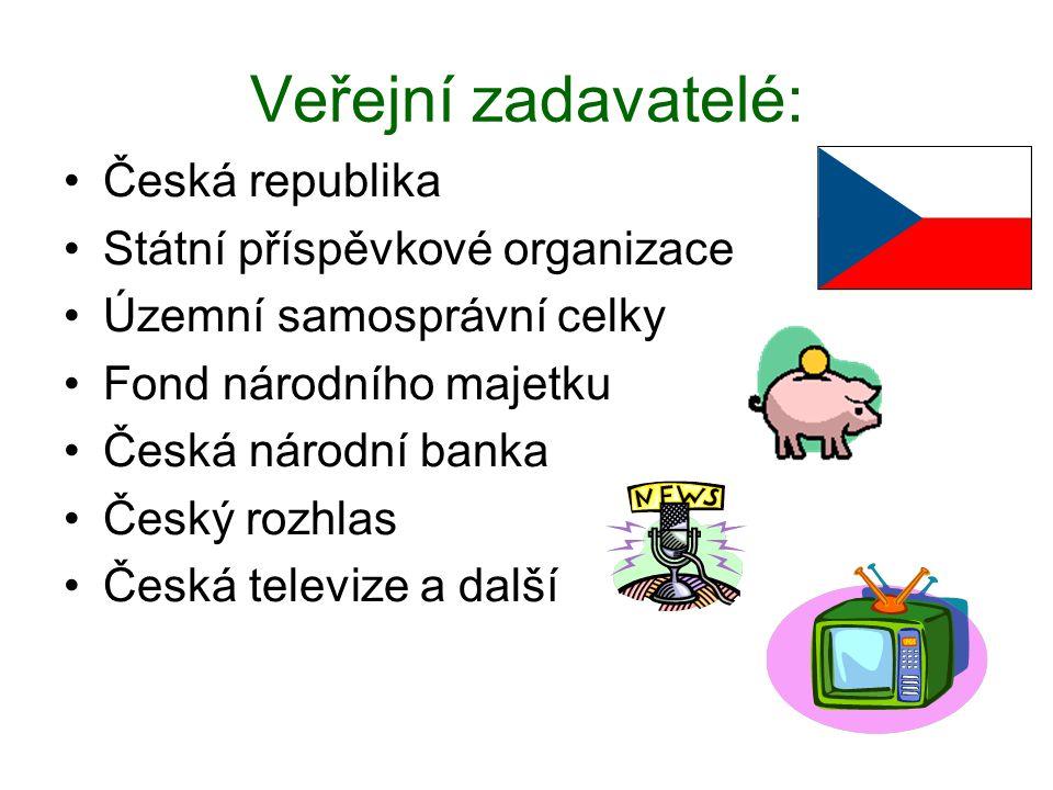 Veřejní zadavatelé: •Česká republika •Státní příspěvkové organizace •Územní samosprávní celky •Fond národního majetku •Česká národní banka •Český rozhlas •Česká televize a další