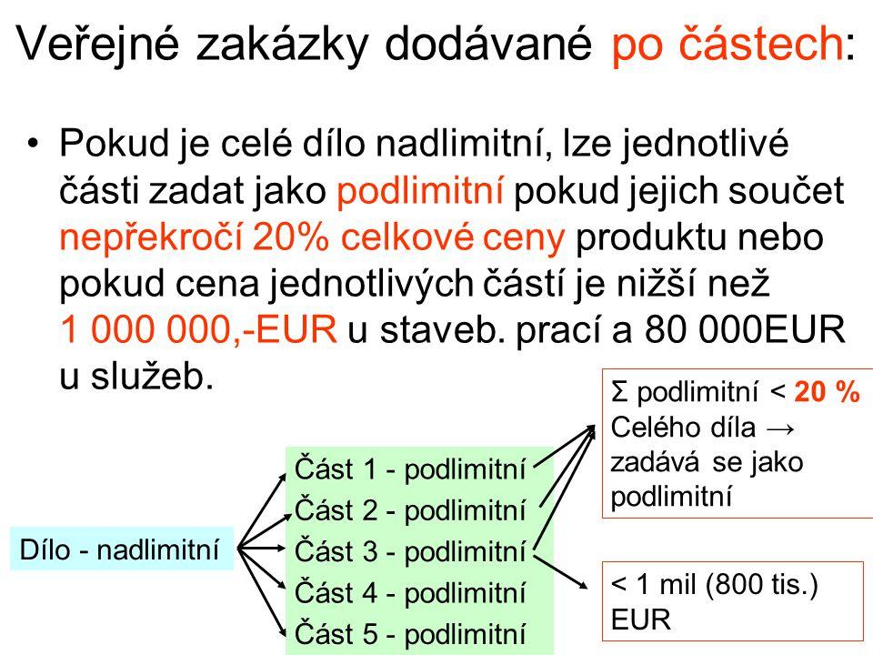 Veřejné zakázky dodávané po částech: •Pokud je celé dílo nadlimitní, lze jednotlivé části zadat jako podlimitní pokud jejich součet nepřekročí 20% celkové ceny produktu nebo pokud cena jednotlivých částí je nižší než 1 000 000,-EUR u staveb.