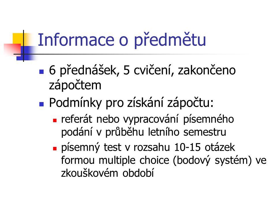 Informace o předmětu  6 přednášek, 5 cvičení, zakončeno zápočtem  Podmínky pro získání zápočtu:  referát nebo vypracování písemného podání v průběh