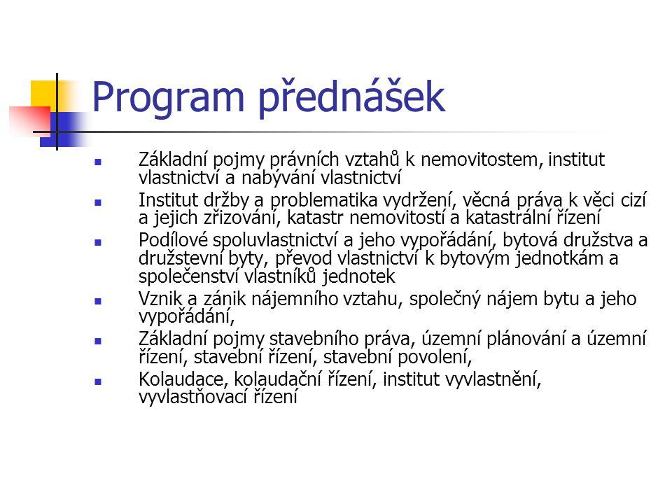 Program přednášek  Základní pojmy právních vztahů k nemovitostem, institut vlastnictví a nabývání vlastnictví  Institut držby a problematika vydržen