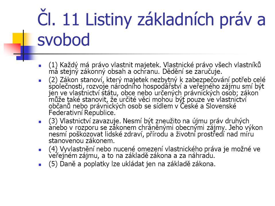 Čl. 11 Listiny základních práv a svobod  (1) Každý má právo vlastnit majetek. Vlastnické právo všech vlastníků má stejný zákonný obsah a ochranu. Děd