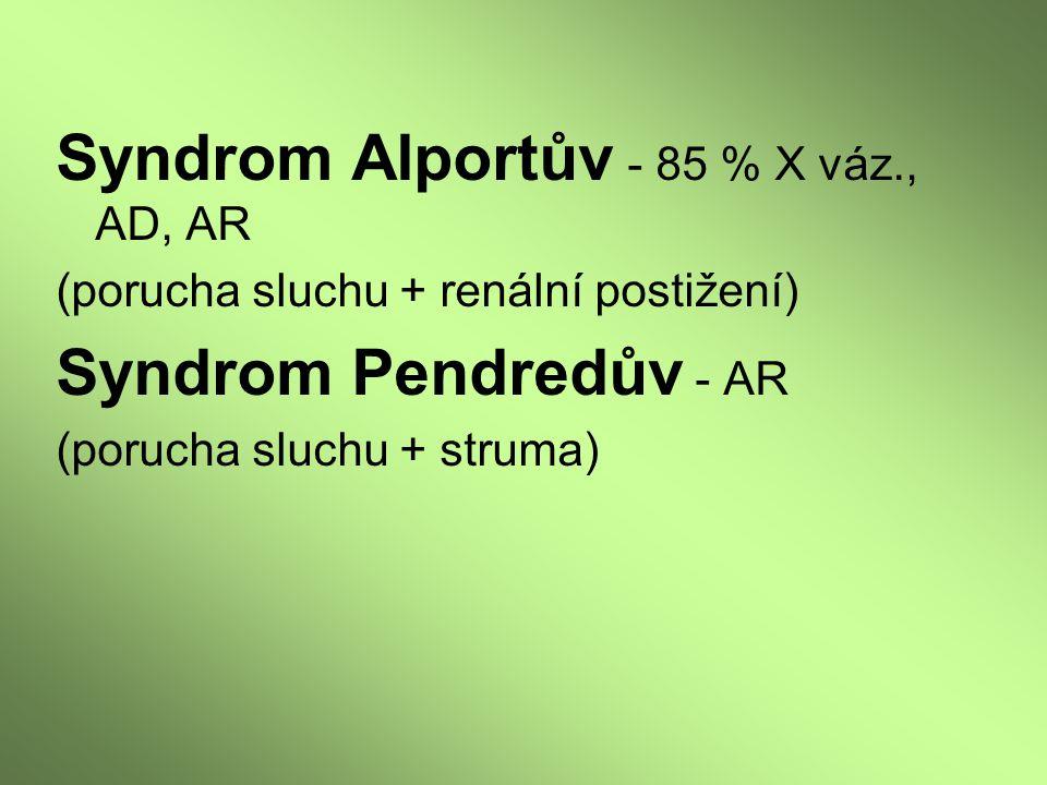 Syndrom Alportův - 85 % X váz., AD, AR (porucha sluchu + renální postižení) Syndrom Pendredův - AR (porucha sluchu + struma)