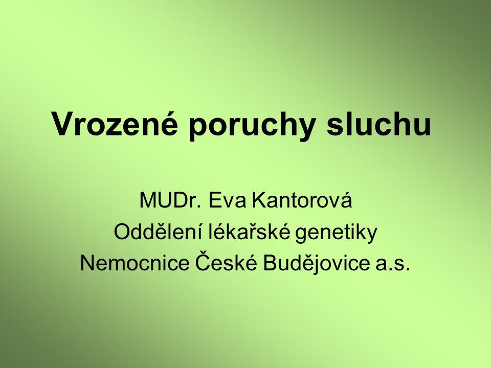 MUDr. Eva Kantorová Oddělení lékařské genetiky Nemocnice České Budějovice a.s.