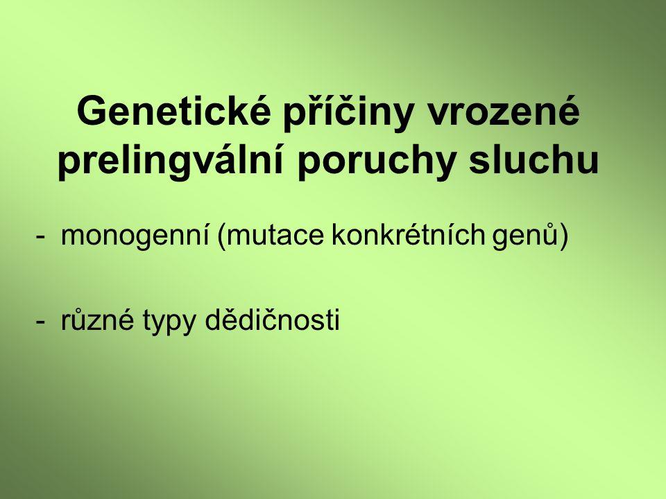 Genetické příčiny vrozené prelingvální poruchy sluchu -monogenní (mutace konkrétních genů) -různé typy dědičnosti