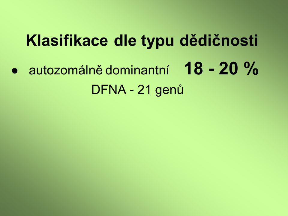● autozomálně dominantní 18 - 20 % DFNA - 21 genů