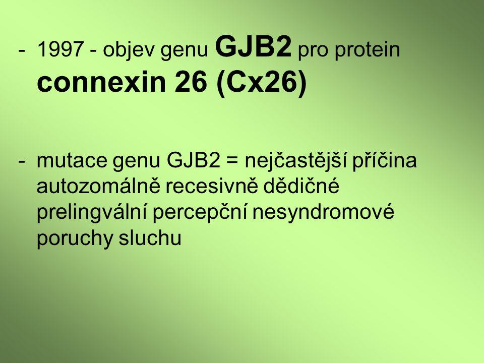 -mutace genu GJB2 = nejčastější příčina autozomálně recesivně dědičné prelingvální percepční nesyndromové poruchy sluchu
