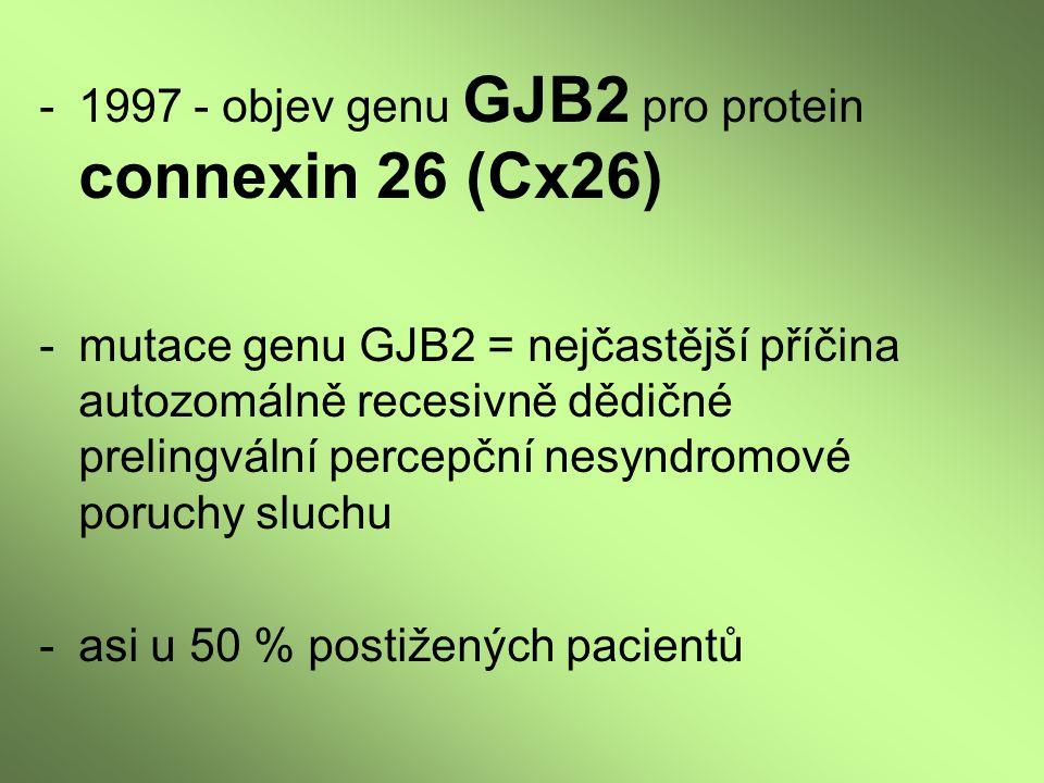 -1997 - objev genu GJB2 pro protein connexin 26 (Cx26) -mutace genu GJB2 = nejčastější příčina autozomálně recesivně dědičné prelingvální percepční ne