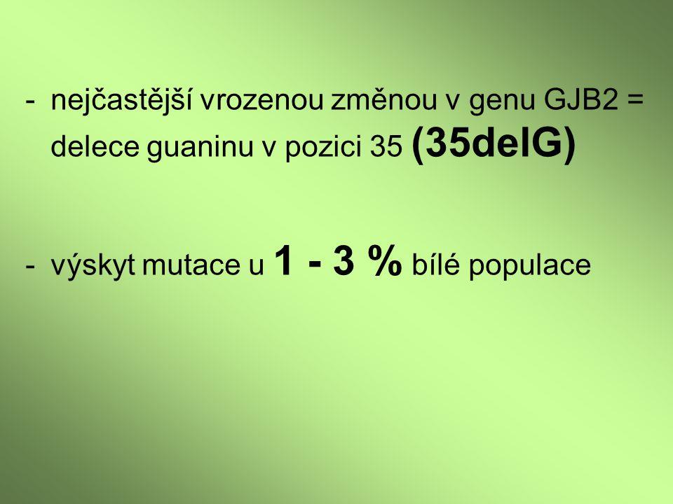 - výskyt mutace u 1 - 3 % bílé populace