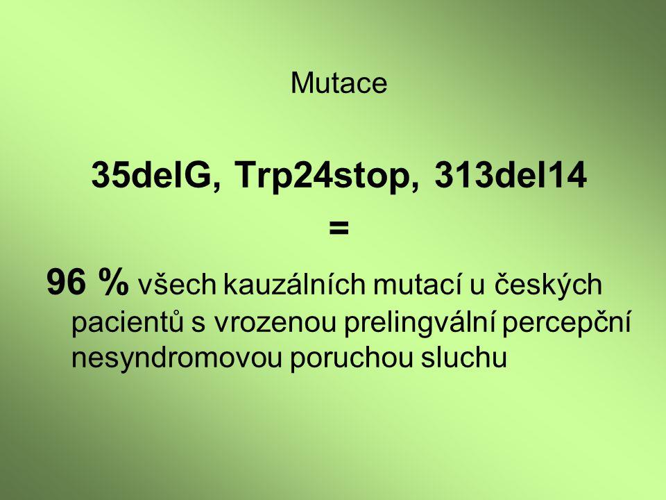 Mutace 35delG, Trp24stop, 313del14 = 96 % všech kauzálních mutací u českých pacientů s vrozenou prelingvální percepční nesyndromovou poruchou sluchu