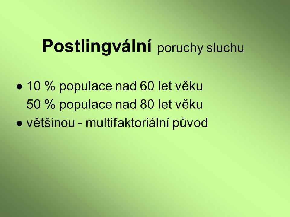 Postlingvální poruchy sluchu ●10 % populace nad 60 let věku 50 % populace nad 80 let věku ●většinou - multifaktoriální původ