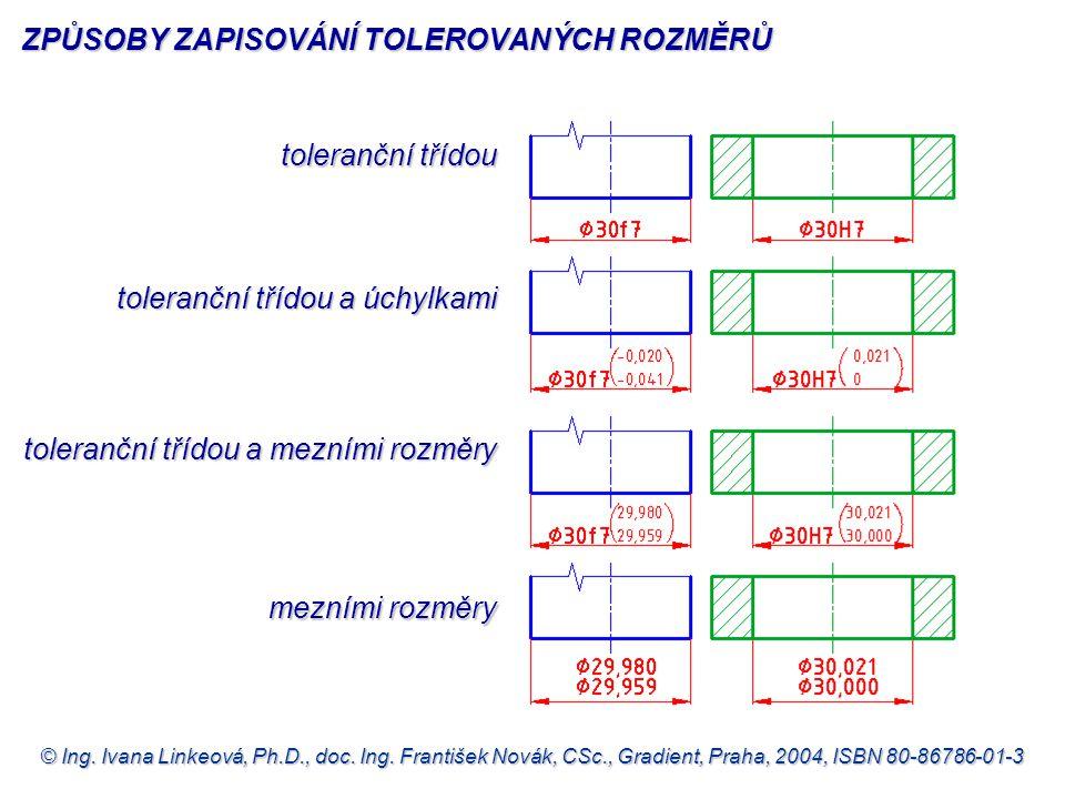 © Ing. Ivana Linkeová, Ph.D., doc. Ing. František Novák, CSc., Gradient, Praha, 2004, ISBN 80-86786-01-3 toleranční třídou toleranční třídou a úchylka