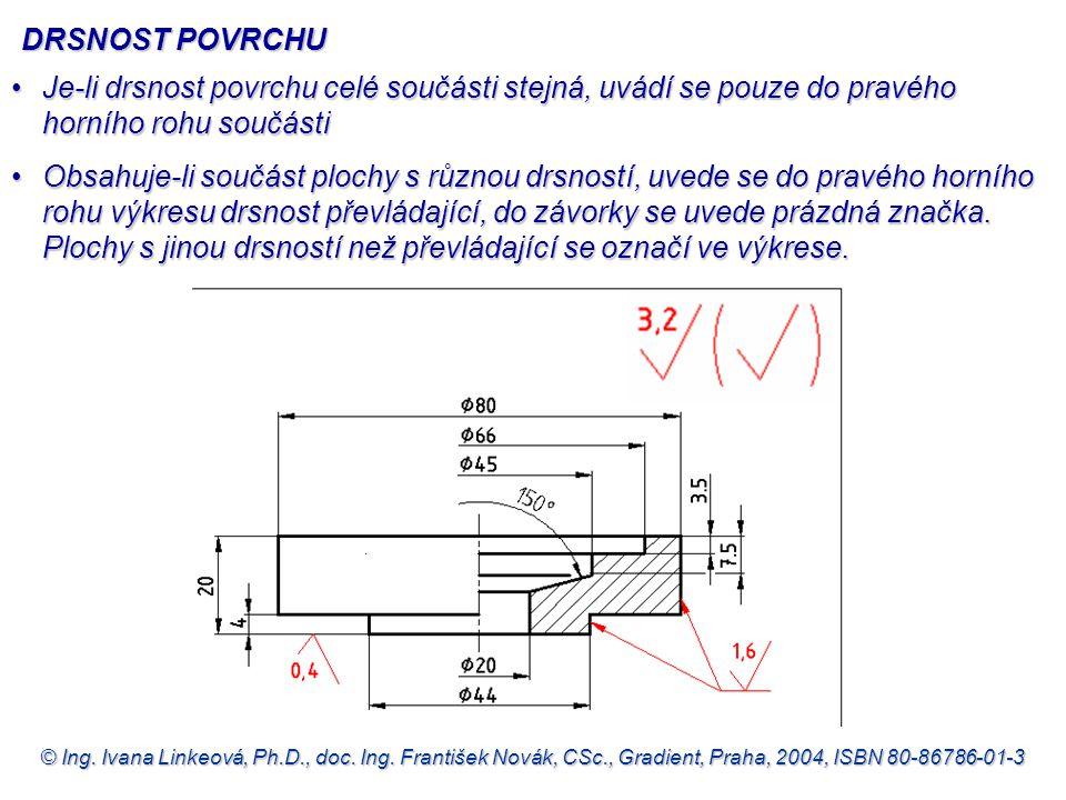 © Ing. Ivana Linkeová, Ph.D., doc. Ing. František Novák, CSc., Gradient, Praha, 2004, ISBN 80-86786-01-3 DRSNOST POVRCHU •Je-li drsnost povrchu celé s