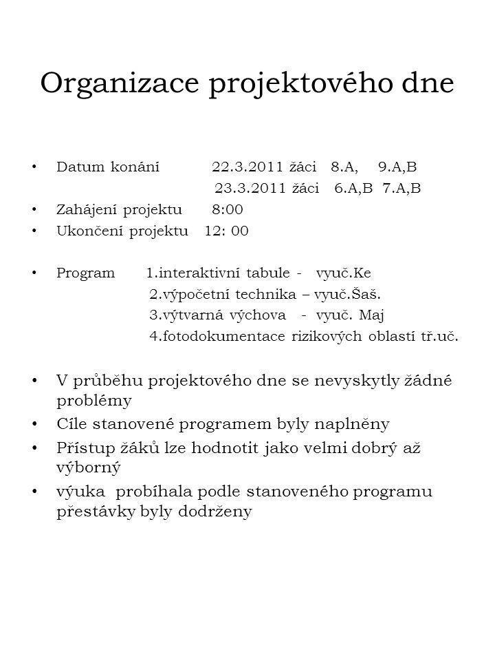 Organizace projektového dne • Datum konání 22.3.2011 žáci 8.A, 9.A,B 23.3.2011 žáci 6.A,B 7.A,B • Zahájení projektu 8:00 • Ukončení projektu 12: 00 •