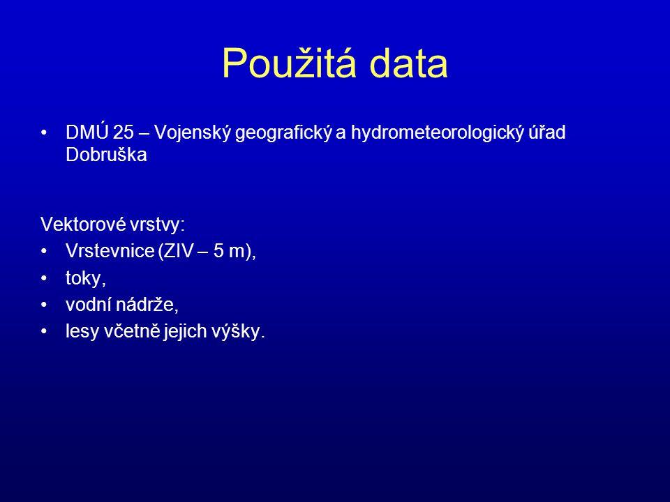 Použitá data •DMÚ 25 – Vojenský geografický a hydrometeorologický úřad Dobruška Vektorové vrstvy: •Vrstevnice (ZIV – 5 m), •toky, •vodní nádrže, •lesy