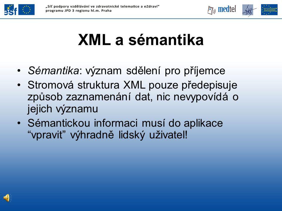 XML syntaxe RDF • RDF lze zapisovat (serializovat) pomocí XML, např.: Subjekt Predikát Objekt