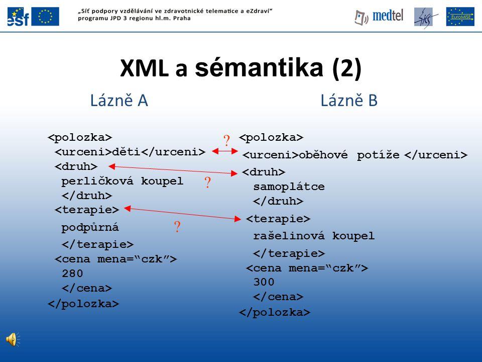 Shrnutí •Běžné technologie WWW (zejména jazyk HTML) poskytují jen minimální možnosti zachytit věcný význam vystavených údajů •Základem koncepce sémantického webu je přiřazení konkrétních zdrojů k obecným třídám, o kterých lze formulovat logické teorie (ontologie) •Konkrétní realizací sémantického webu je v současnosti prostředí RDF a ontologického jazyka OWL, dále se pracuje na pravidlové vrstvě •Pro vznik dostatečného objemu sémanticky anotovaných dat je nutné využití mj.