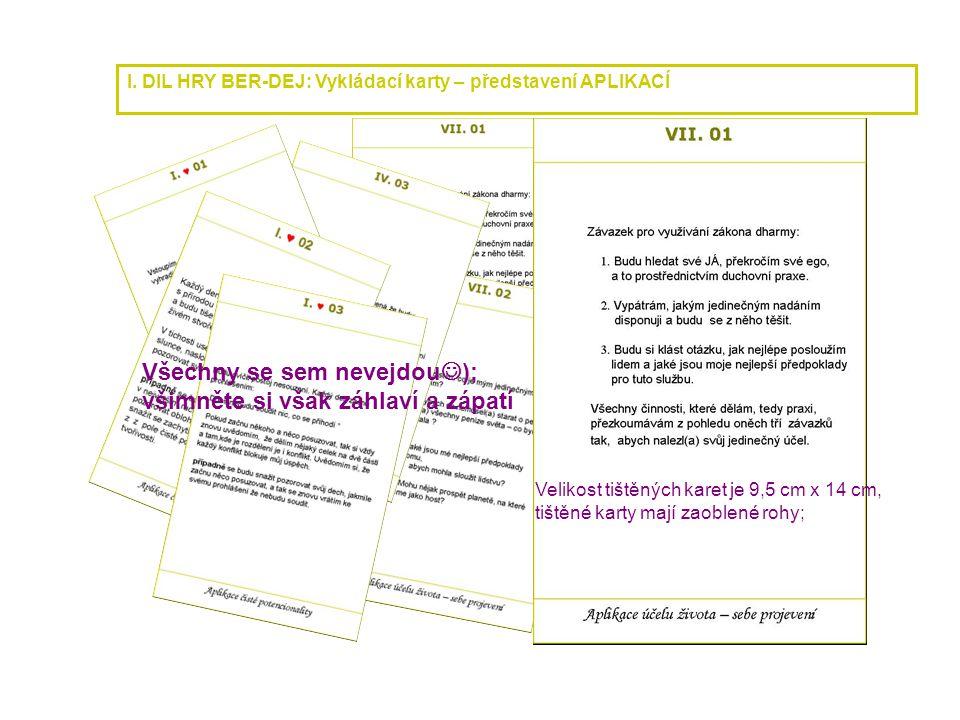 I. DIL HRY BER-DEJ: Vykládací karty – představení APLIKACÍ Všechny se sem nevejdou  ); všimněte si však záhlaví a zápatí Velikost tištěných karet je