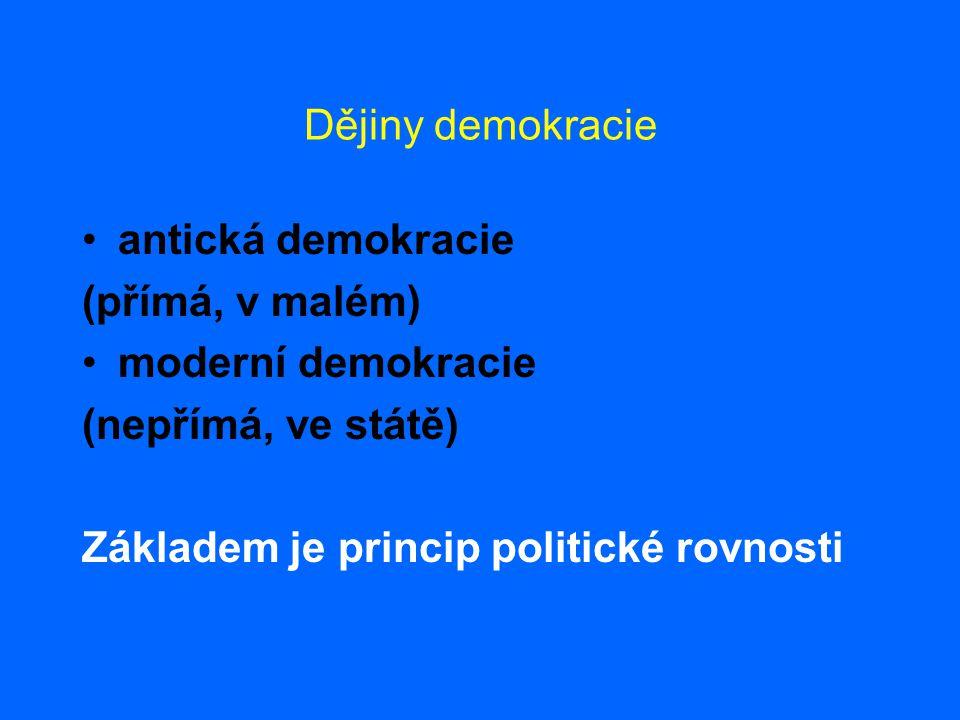 Dějiny demokracie •antická demokracie (přímá, v malém) •moderní demokracie (nepřímá, ve státě) Základem je princip politické rovnosti