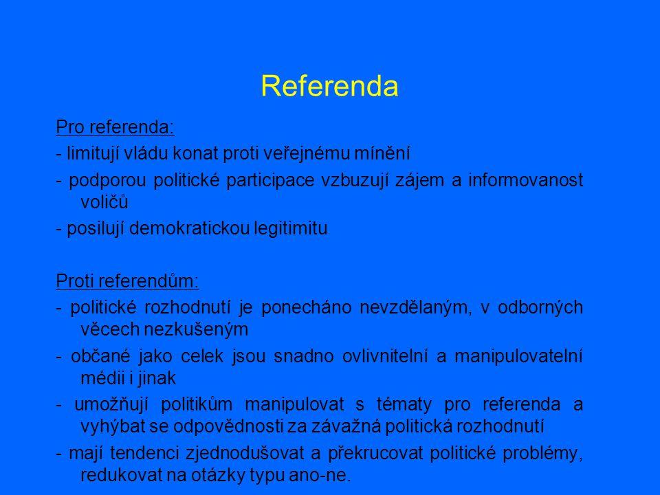 Referenda Pro referenda: - limitují vládu konat proti veřejnému mínění - podporou politické participace vzbuzují zájem a informovanost voličů - posilu