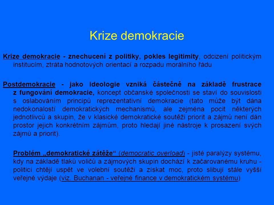 Krize demokracie Krize demokracie - znechucení z politiky, pokles legitimity, odcizení politickým institucím, ztráta hodnotových orientací a rozpadu m