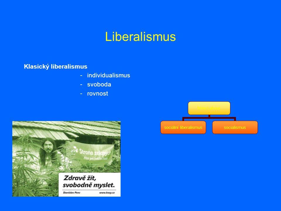Liberalismus Klasický liberalismus -individualismus -svoboda -rovnost New Labour sociální liberalismus socialismus