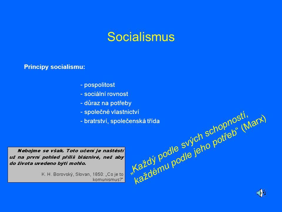"""Socialismus Principy socialismu: - pospolitost - sociální rovnost - důraz na potřeby - společné vlastnictví - bratrství, společenská třída """"Každý podl"""