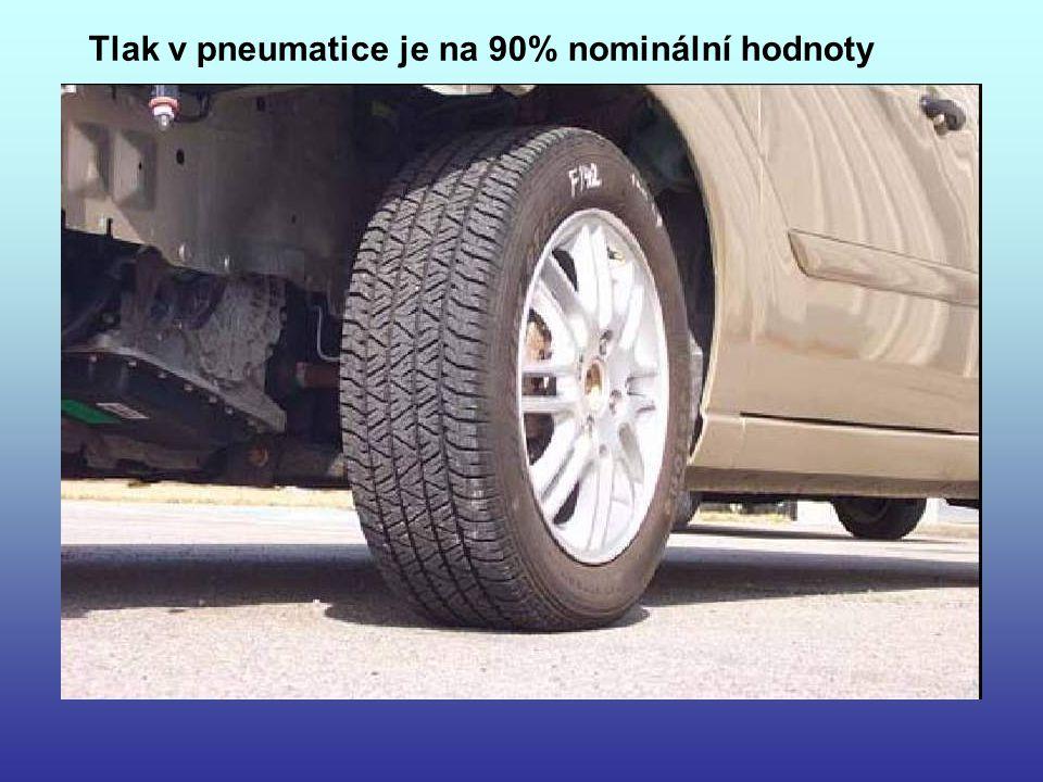 Tlak v pneumatice je na 90% nominální hodnoty