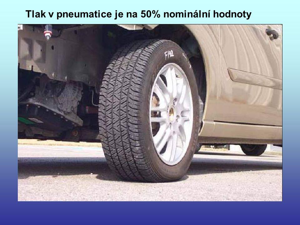 Tlak v pneumatice je na 50% nominální hodnoty