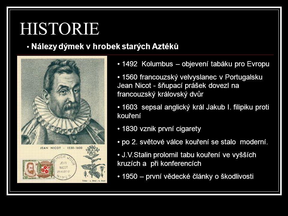 HISTORIE • 1492 Kolumbus – objevení tabáku pro Evropu • 1560 francouzský velvyslanec v Portugalsku Jean Nicot - šňupací prášek dovezl na francouzský k