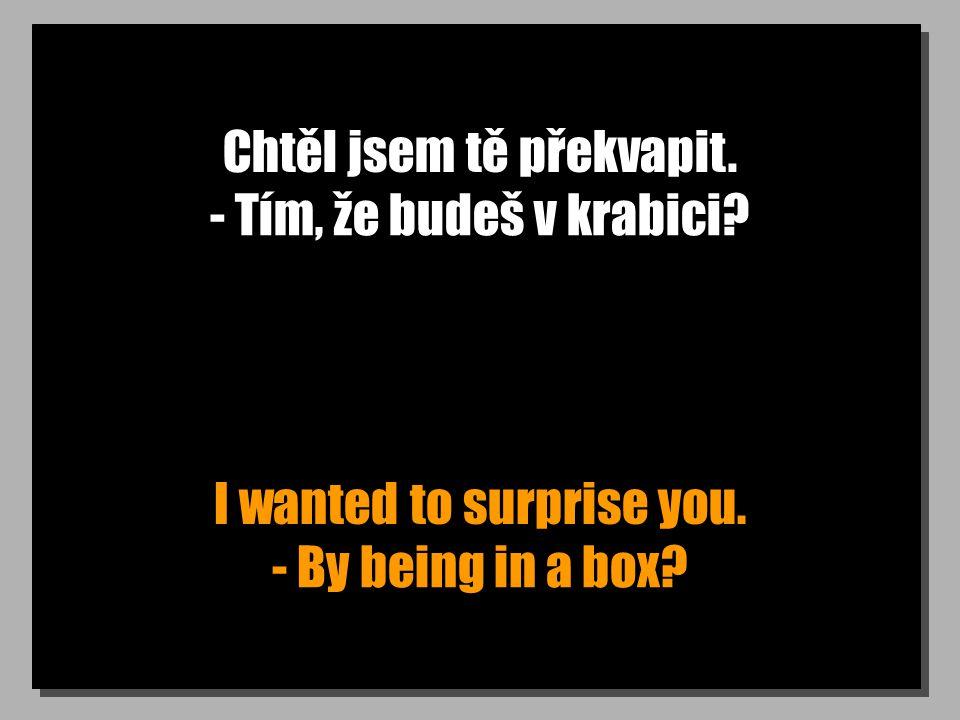 Chtěl jsem tě překvapit. I wanted to surprise you. - Tím, že budeš v krabici? - By being in a box?