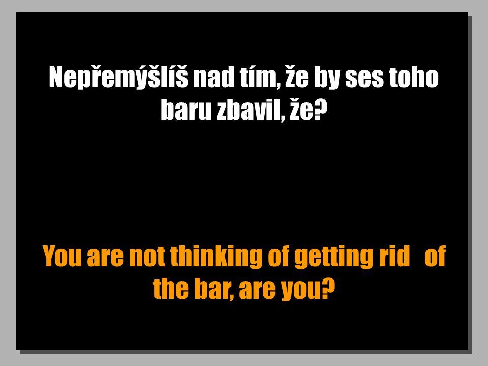 Nepřemýšlíš nad tím, že by ses toho baru zbavil, že? You are not thinking of getting rid of the bar, are you?