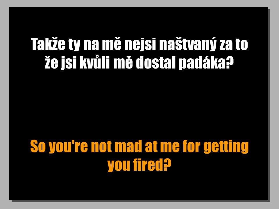 Takže ty na mě nejsi naštvaný za to že jsi kvůli mě dostal padáka? So you're not mad at me for getting you fired?