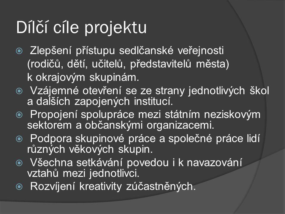 Dílčí cíle projektu  Zlepšení přístupu sedlčanské veřejnosti (rodičů, dětí, učitelů, představitelů města) k okrajovým skupinám.  Vzájemné otevření s