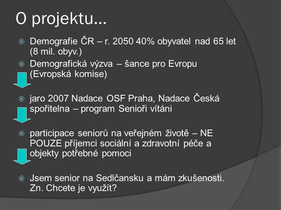 O projektu…  Demografie ČR – r. 2050 40% obyvatel nad 65 let (8 mil. obyv.)  Demografická výzva – šance pro Evropu (Evropská komise)  jaro 2007 Nad