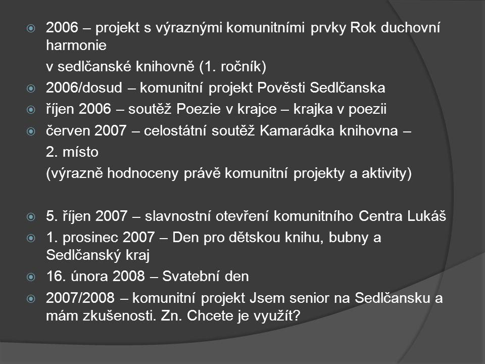  2006 – projekt s výraznými komunitními prvky Rok duchovní harmonie v sedlčanské knihovně (1. ročník)  2006/dosud – komunitní projekt Pověsti Sedlča