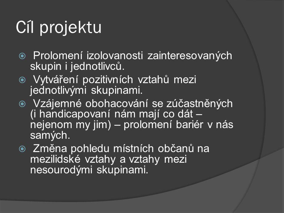 Cíl projektu  Prolomení izolovanosti zainteresovaných skupin i jednotlivců.  Vytváření pozitivních vztahů mezi jednotlivými skupinami.  Vzájemné ob