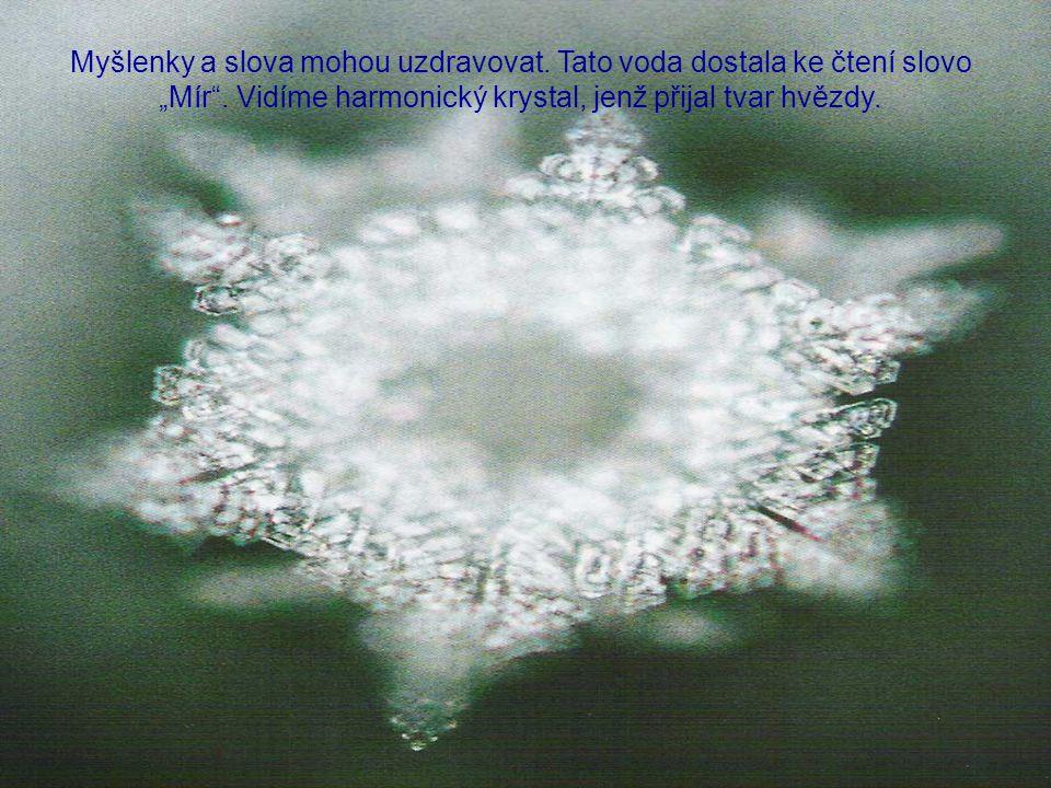 """Myšlenky a slova mohou uzdravovat.Tato voda dostala ke čtení slovo """"Mír ."""