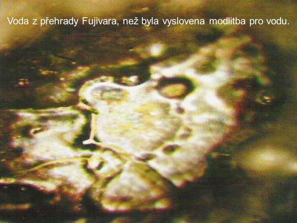Voda z přehrady Fujivara, než byla vyslovena modlitba pro vodu.