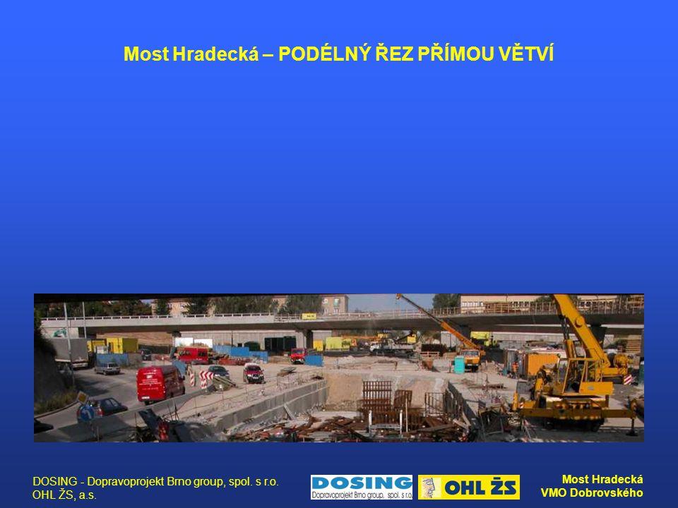 DOSING - Dopravoprojekt Brno group, spol. s r.o. OHL ŽS, a.s. Most Hradecká VMO Dobrovského Most Hradecká – PODÉLNÝ ŘEZ PŘÍMOU VĚTVÍ