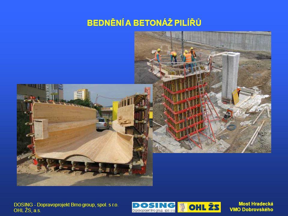 DOSING - Dopravoprojekt Brno group, spol. s r.o. OHL ŽS, a.s. Most Hradecká VMO Dobrovského BEDNĚNÍ A BETONÁŽ PILÍŘŮ