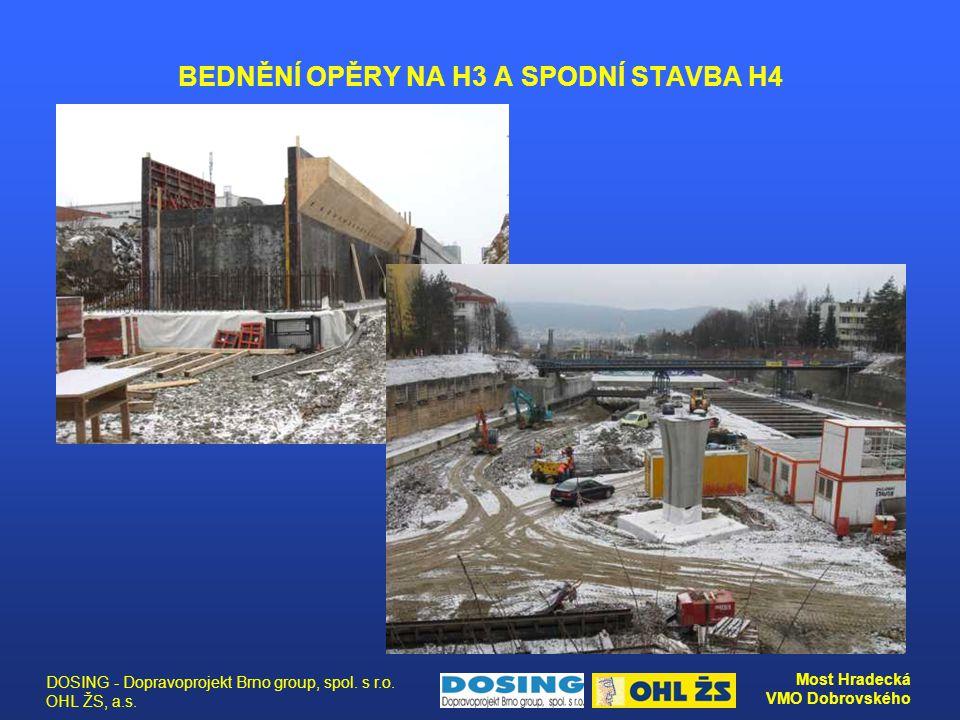 DOSING - Dopravoprojekt Brno group, spol. s r.o. OHL ŽS, a.s. Most Hradecká VMO Dobrovského BEDNĚNÍ OPĚRY NA H3 A SPODNÍ STAVBA H4