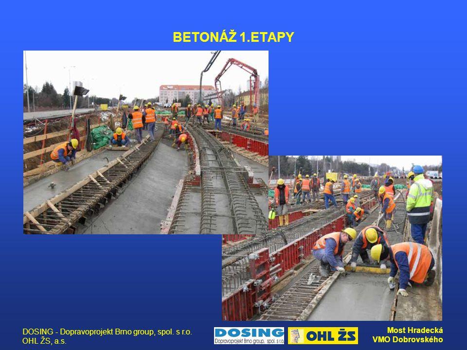 DOSING - Dopravoprojekt Brno group, spol. s r.o. OHL ŽS, a.s. Most Hradecká VMO Dobrovského BETONÁŽ 1.ETAPY