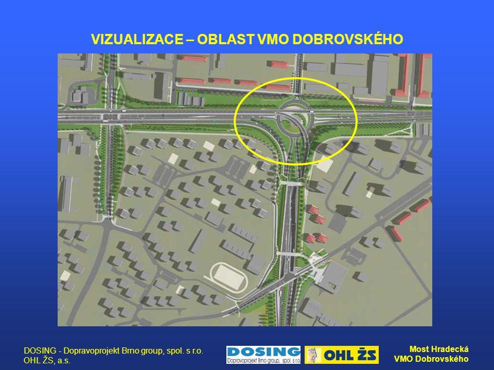 DOSING - Dopravoprojekt Brno group, spol. s r.o. OHL ŽS, a.s. Most Hradecká VMO Dobrovského VIZUALIZACE – OBLAST VMO DOBROVSKÉHO