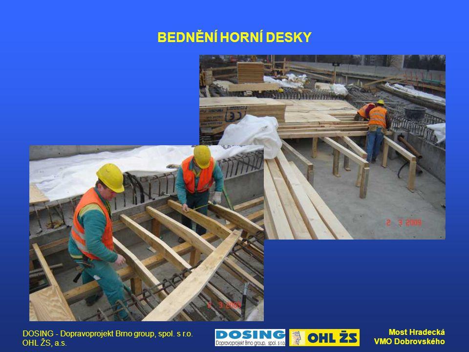 DOSING - Dopravoprojekt Brno group, spol. s r.o. OHL ŽS, a.s. Most Hradecká VMO Dobrovského BEDNĚNÍ HORNÍ DESKY