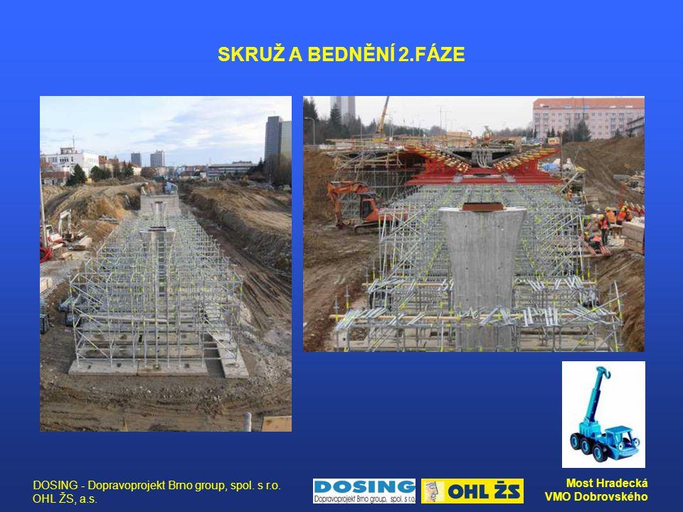 DOSING - Dopravoprojekt Brno group, spol. s r.o. OHL ŽS, a.s. Most Hradecká VMO Dobrovského SKRUŽ A BEDNĚNÍ 2.FÁZE