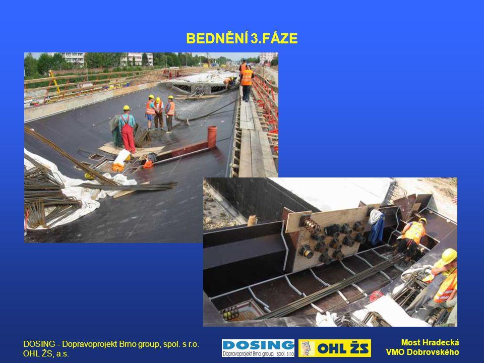 DOSING - Dopravoprojekt Brno group, spol. s r.o. OHL ŽS, a.s. Most Hradecká VMO Dobrovského BEDNĚNÍ 3.FÁZE
